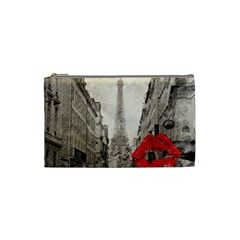 Elegant Red Kiss Love Paris Eiffel Tower Cosmetic Bag (small)