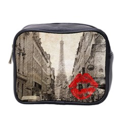 Elegant Red Kiss Love Paris Eiffel Tower Mini Travel Toiletry Bag (two Sides) by chicelegantboutique