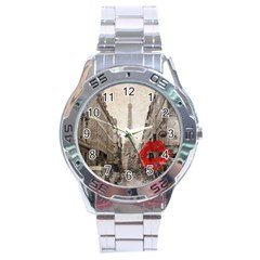 Elegant Red Kiss Love Paris Eiffel Tower Stainless Steel Watch (men s) by chicelegantboutique