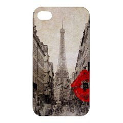 Elegant Red Kiss Love Paris Eiffel Tower Apple Iphone 4/4s Hardshell Case by chicelegantboutique