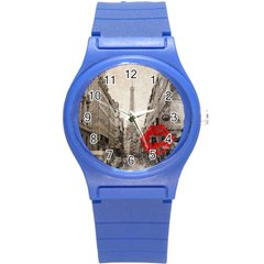 Elegant Red Kiss Love Paris Eiffel Tower Plastic Sport Watch (small) by chicelegantboutique