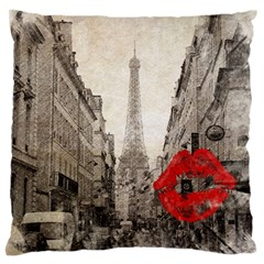 Elegant Red Kiss Love Paris Eiffel Tower Large Cushion Case (two Sided)  by chicelegantboutique