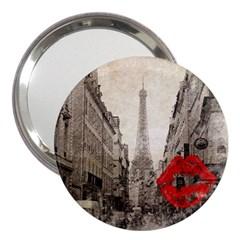Elegant Red Kiss Love Paris Eiffel Tower 3  Handbag Mirror by chicelegantboutique