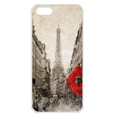 Elegant Red Kiss Love Paris Eiffel Tower Apple Iphone 5 Seamless Case (white) by chicelegantboutique