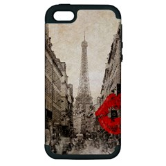 Elegant Red Kiss Love Paris Eiffel Tower Apple Iphone 5 Hardshell Case (pc+silicone) by chicelegantboutique