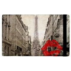 Elegant Red Kiss Love Paris Eiffel Tower Apple Ipad 2 Flip Case by chicelegantboutique
