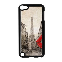 Elegant Red Kiss Love Paris Eiffel Tower Apple Ipod Touch 5 Case (black) by chicelegantboutique