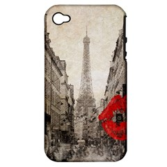 Elegant Red Kiss Love Paris Eiffel Tower Apple Iphone 4/4s Hardshell Case (pc+silicone) by chicelegantboutique