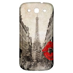 Elegant Red Kiss Love Paris Eiffel Tower Samsung Galaxy S3 S Iii Classic Hardshell Back Case by chicelegantboutique
