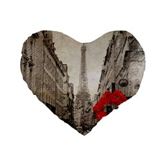 Elegant Red Kiss Love Paris Eiffel Tower 16  Premium Heart Shape Cushion  by chicelegantboutique