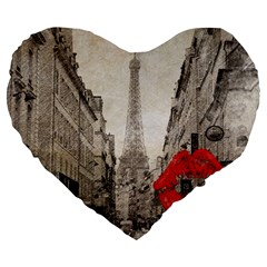 Elegant Red Kiss Love Paris Eiffel Tower 19  Premium Heart Shape Cushion by chicelegantboutique