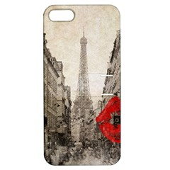 Elegant Red Kiss Love Paris Eiffel Tower Apple Iphone 5 Hardshell Case With Stand by chicelegantboutique