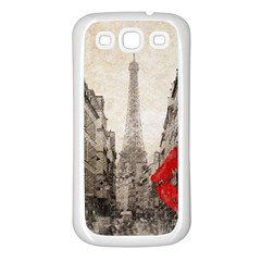 Elegant Red Kiss Love Paris Eiffel Tower Samsung Galaxy S3 Back Case (white) by chicelegantboutique