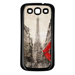 Elegant Red Kiss Love Paris Eiffel Tower Samsung Galaxy S3 Back Case (black) by chicelegantboutique