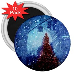 Elegant Winter Snow Flakes Gate Of Victory Paris France 3  Button Magnet (10 Pack) by chicelegantboutique