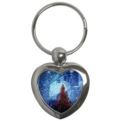 Elegant Winter Snow Flakes Gate Of Victory Paris France Key Chain (heart) by chicelegantboutique