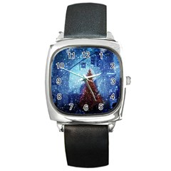 Elegant Winter Snow Flakes Gate Of Victory Paris France Square Leather Watch by chicelegantboutique