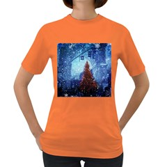Elegant Winter Snow Flakes Gate Of Victory Paris France Womens' T Shirt (colored) by chicelegantboutique