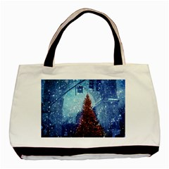Elegant Winter Snow Flakes Gate Of Victory Paris France Twin Sided Black Tote Bag by chicelegantboutique