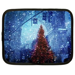Elegant Winter Snow Flakes Gate Of Victory Paris France Netbook Case (large) by chicelegantboutique