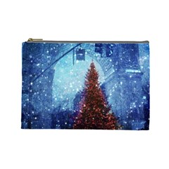 Elegant Winter Snow Flakes Gate Of Victory Paris France Cosmetic Bag (large) by chicelegantboutique