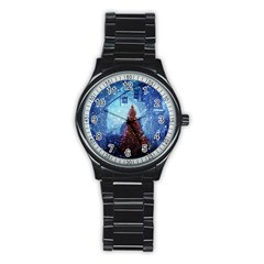 Elegant Winter Snow Flakes Gate Of Victory Paris France Sport Metal Watch (black) by chicelegantboutique
