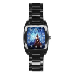 Elegant Winter Snow Flakes Gate Of Victory Paris France Men s Stainless Steel Barrel Analog Watch by chicelegantboutique