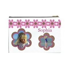 Pink Daisy Cosmetic Bag (large) By Deborah Back