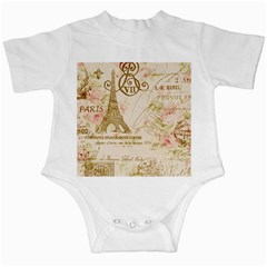 Floral Eiffel Tower Vintage French Paris Art Infant Creeper