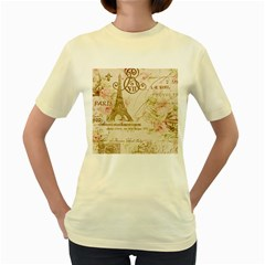 Floral Eiffel Tower Vintage French Paris Art  Womens  T Shirt (yellow) by chicelegantboutique