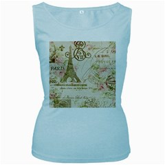 Floral Eiffel Tower Vintage French Paris Art Womens  Tank Top (baby Blue) by chicelegantboutique