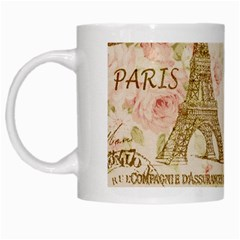 Floral Eiffel Tower Vintage French Paris Art White Coffee Mug by chicelegantboutique