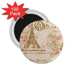 Floral Eiffel Tower Vintage French Paris Art 2 25  Button Magnet (100 Pack) by chicelegantboutique