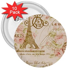 Floral Eiffel Tower Vintage French Paris Art 3  Button (10 Pack) by chicelegantboutique