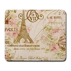 Floral Eiffel Tower Vintage French Paris Art Large Mouse Pad (rectangle) by chicelegantboutique