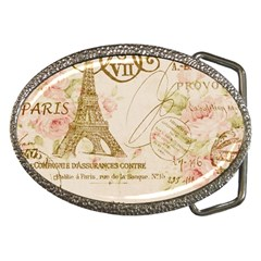 Floral Eiffel Tower Vintage French Paris Art Belt Buckle (oval)