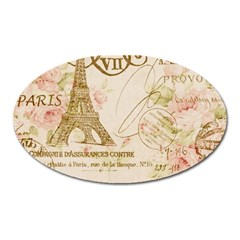 Floral Eiffel Tower Vintage French Paris Art Magnet (oval) by chicelegantboutique