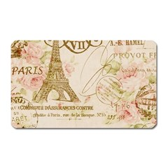 Floral Eiffel Tower Vintage French Paris Art Magnet (rectangular) by chicelegantboutique
