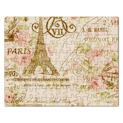 Floral Eiffel Tower Vintage French Paris Art Jigsaw Puzzle (rectangle) by chicelegantboutique