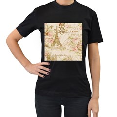 Floral Eiffel Tower Vintage French Paris Art Womens' Two Sided T Shirt (black) by chicelegantboutique