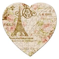 Floral Eiffel Tower Vintage French Paris Art Jigsaw Puzzle (heart) by chicelegantboutique