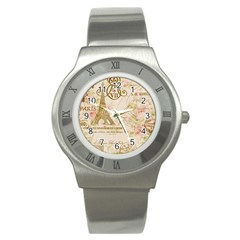 Floral Eiffel Tower Vintage French Paris Art Stainless Steel Watch (unisex) by chicelegantboutique