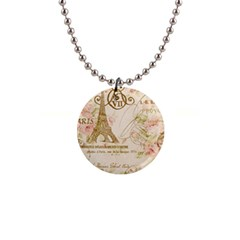 Floral Eiffel Tower Vintage French Paris Art Button Necklace