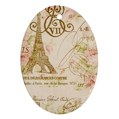 Floral Eiffel Tower Vintage French Paris Art Oval Ornament (two Sides) by chicelegantboutique