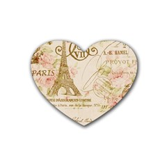 Floral Eiffel Tower Vintage French Paris Art Drink Coasters (heart) by chicelegantboutique