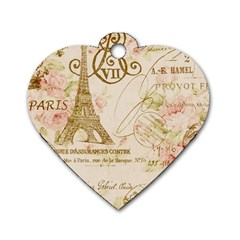 Floral Eiffel Tower Vintage French Paris Art Dog Tag Heart (two Sided) by chicelegantboutique