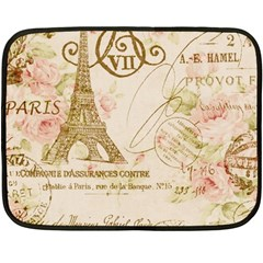 Floral Eiffel Tower Vintage French Paris Art Mini Fleece Blanket (two Sided) by chicelegantboutique