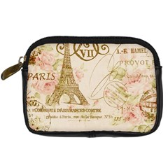 Floral Eiffel Tower Vintage French Paris Art Digital Camera Leather Case by chicelegantboutique