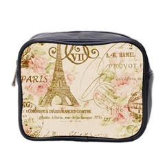 Floral Eiffel Tower Vintage French Paris Art Mini Travel Toiletry Bag (two Sides) by chicelegantboutique