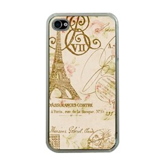 Floral Eiffel Tower Vintage French Paris Art Apple Iphone 4 Case (clear) by chicelegantboutique